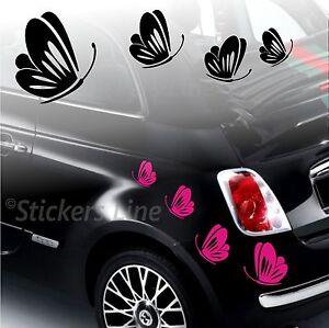 Kit adesivi FARFALLE (mod.3) SMART FIAT 500 fiori auto moto fiore car stickers