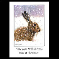 Running Hare in Snow Christmas cards pack of 10 C366x