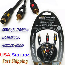 6' Ft  4 pin S-Video 2 RCA Male To Male Audio Combo Cable Gold Plated Connectors