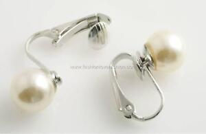 1 Pair Silvertone U Clip On Faux Pearl Round Stud Earrings for Non-Pierced Ears