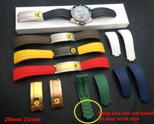 20 21mm Nature Rubber Watchband Bracelet For Daytona GMT Oysterflex Submariner