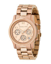 NEW MICHAEL KORS WOMEN'S ROSE GOLD TONE CHRONOGRAPH RUNWAY WATCH MK5128