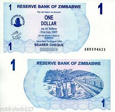 ZIMBABWE $1 Dollar Banknote World Currency Money Bill Note Africa p37 Cheque