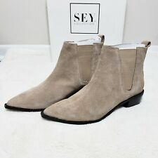 Anthropologie Seychelles Chelsea Ankle Booties Suede Leather Boots Taupe Sz 9.5