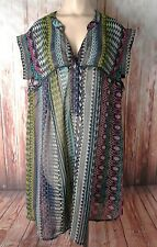 Womens Plus eShakti Sheer Geometric Bright Multi-Color Boho Tunic Blouse 3X 24W
