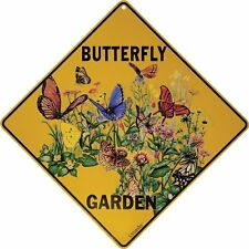 "BUTTERFLY GARDEN Yellow Alert Sign, 12"" on sides, 16"" on Diagonal, Aluminum"