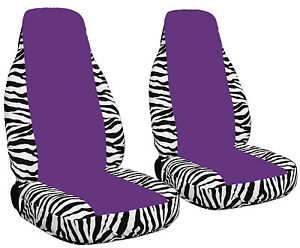 front set car seat covers zebra white/ purple center  with opening for airbags