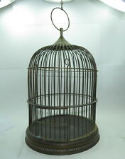 "Large Vintage Solid Brass Bird Cage ~ 19"" tall, 12-3/4"" wide"