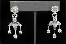 925 Sterling Silver Sim Diamond Art Deco Chandelier Dangle Bridal Drop Earrings