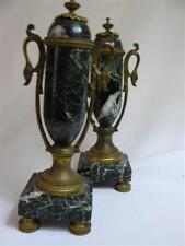 Paire de cassolettes en urnes de pendule marbre vert 19ème Sd Empire Nap III