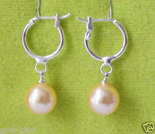 10mm Natural Pink Round South Sea Shell Pearl Silver Hoop Earrings