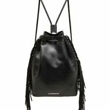 Victoria's Secret Faux Leather Fringe Drawstring Backpack Bag Black