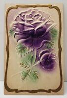 Heavily Embossed Airbrushed Purple Flower Gold Gild Trim Postcard B3