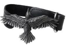 Black Consort Flying Raven Black Leather Wrist Strap Crow Alchemy Gothic A109