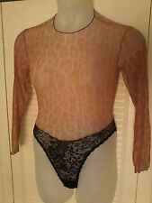 Vtg Guy Laroche Animal Print Snap Crotch Long Sleeve Bodysuit Catsuit Leotard P