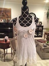 Abercrombie Sequin Applique Tank Top Tunic Embellished Oatmeal Sz S WORN ONCE
