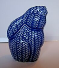 "Brn Blue Herring Bone Rabbit figurine Basket Weave design ceramic 6""x3""x4"""