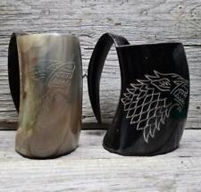 More details for wolf ox buffalo zebu drinking horn mug tankard viking mjolnir thor odin mead