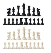 Staunton Single Weight Chess Pieces - Full Set of 34 Black & White - 4 Queens