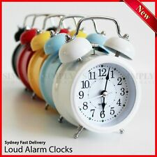 Twin Bell Alarm Clock Vintage Retro Loud Clocks Battery Bedside Desk Analogue