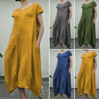 ZANZEA Women Summer Short Sleeve V Neck Casual Loose Cotton Kaftan Stright Dress
