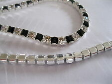 15 inch Czech. Square Rhinestone chain in 4mm Jet/Crystal.Sterling plate