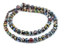 Java Fancy Trade Beads 12mm Indonesia Multicolor Round Glass Large Hole