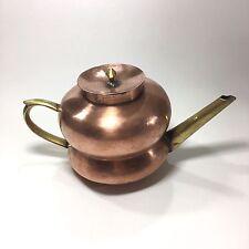Vintage Copper Tea Pot Brass Spout Handle Hot Serving Kettle Felt Tin Lining