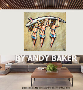 Original art painting print signed Andy Baker Beach Australia surf board girls