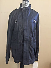 UGG MEN TREVALLEY LAMBSKIN LEATHER JACKET COAT DISTRESS BLACK Size L-TAG