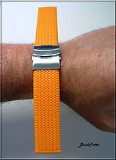 Men 20mm Orange Rubber Tire Smooth Watch Band With SOLID DEPLOYMENT BUCKLE