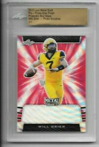 Will Grier 2019 Leaf Metal Draft RC Pre-Production Proof Prismatic RED WAVE 1/1