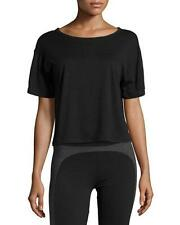NWT Solow Sport Women's Cropped Tee W/ Mesh Back Black Size LARGE L
