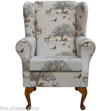 Small Westoe Wing Back Fireside Armchair in Tatton Autumn Fabric
