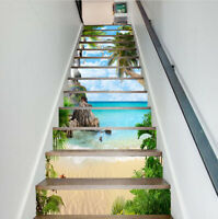 3D Tropical Ocean Beach Staircase Stickers Wallpaper Stair Riser Stickers Decor