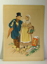 1920s SIGNED NAUDY (RENAUDIN) HAND COLORED  LITHOGRAPH PRINT -MAINE FRANCE