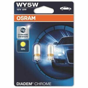 OSRAM Amber Diadem Chrome WY5W (501a) 12V 5W 2827DC-02B Corner Light Bulbs(Twin)