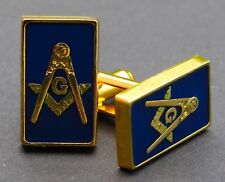Masonic Cufflinks Square & Compass Blue Bass Best Quality