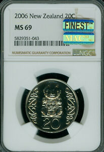 2006 NEW ZEALAND LARGE 20 CENTS NGC MS-69 MAC FINEST GRADE SPOTLESS 3,000 MINTED