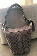 Coach H0768-11437 Brown Leather/Canvas Hobo Bag