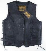 NWT Vintage Hudson Genuine Leather Motorcycle Biker Snap Womens Vest Jacket L