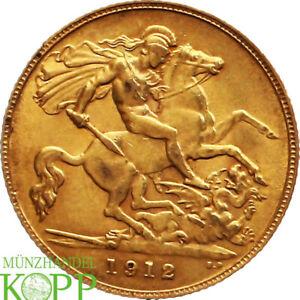 AB6568) Großbritannien 1/2 Sovereign Gold 1912 George V. 1910-1936.