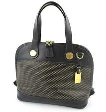 Dooney & Burke Cabriolet Black Perforated Leather Handbag Bowler Bag