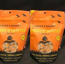 2 Bocce's Bakery Pumpk'n Nutters Peanut Butter Carob Dog Treat Biscuits Bag 5 Oz
