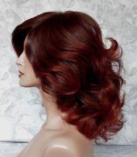 Medium Length Thick Wavy Brown/Auburn High Heat Ok Full Synthetic Wig - G1218