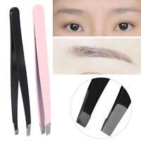 2X Stainless Steel Tweezers for Hair Eyebrow Plucker Puller Beauty Nail Slanted
