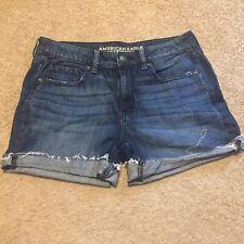American Eagle Outfitters 8 Boy Midi Dark Wash Rolled Hem Cuffed Shorts