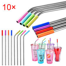 10pcs Silicone Straw Tips Food Grade Straws Tips Covers Wide 6mm / 8mm Size dsf