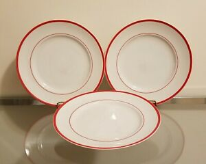 Williams Sonoma Brasserie Red Band Dinner Plates Set of 3 NEW