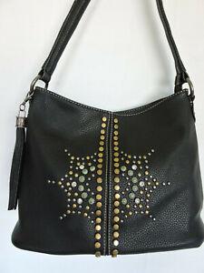 Black Hobo Style Shoulder Bag Studs Rhinestones Tassel by Montana West